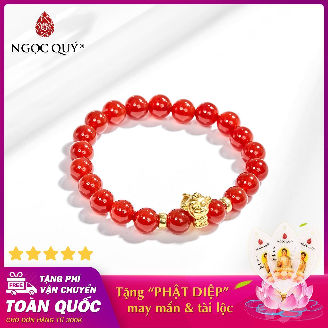 Vòng tay phong thủy đá mã não đỏ charm tuổi thân bạc mạ vàng 24k 8mm mệnh hỏa , thổ - Ngọc Quý Gemstones
