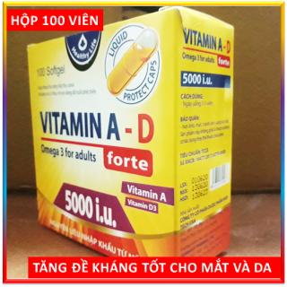 Viên Uống Bổ Sung Vitamin A D, Omega 3 tăng cường sức khỏe, nâng cao đề kháng, tốt cho mắt, da - Hộp 100 viên thumbnail