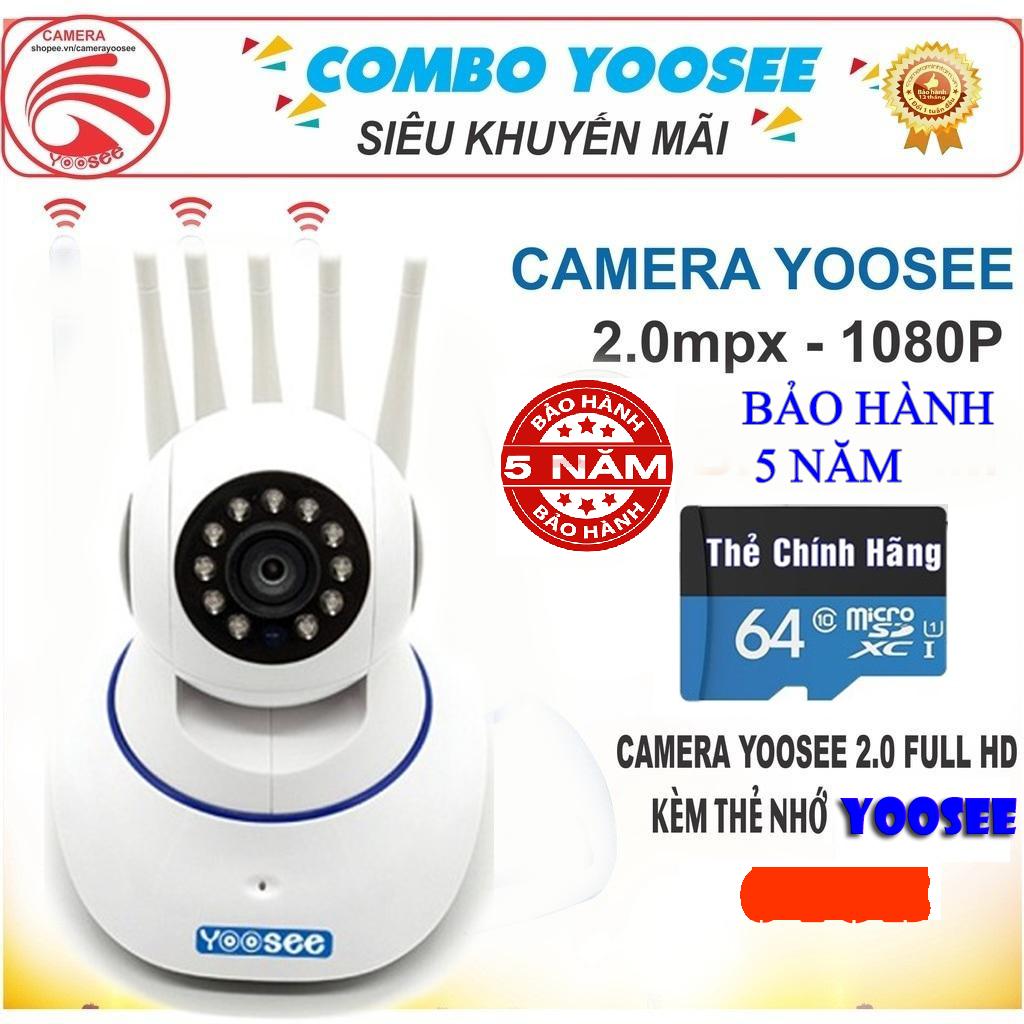 (KÈM THẺ CHUYÊN DỤNG 64GB, TRỊ GIÁ 400K)Camera WiFi KHÔNG DÂY YooSee 5 râu, Camera Trong nhà, ngoài trời SIÊU SẮC NÉT FULL HD 2.0 Mpx 1920 X 1080P,GHI ÂM, GHI HÌNH , ĐÀM THOẠI 2 CHIỀU, LƯU TRỮ TỐI ĐA 128GB