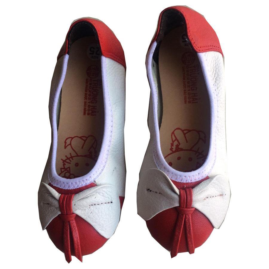 Giá bán Giày búp bê bé gái Trường Hải  da bò thật đỏ trắng TH157