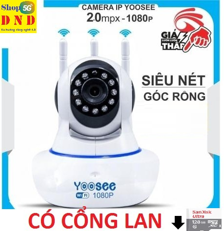(KÈM Thẻ Nhớ 128 GB, tự chọn) Camera IP Wifi Yoosee 3 Râu xoay 360 độ, độ phân giải FullHD 2.0MP 1080p Không Dây, Camera trong nhà, ngoài trời - Camera hồng ngoại tích hợp ghi âm, lưu trữ dữ liệu tùy chọn thẻ nhớ BH 5 năm