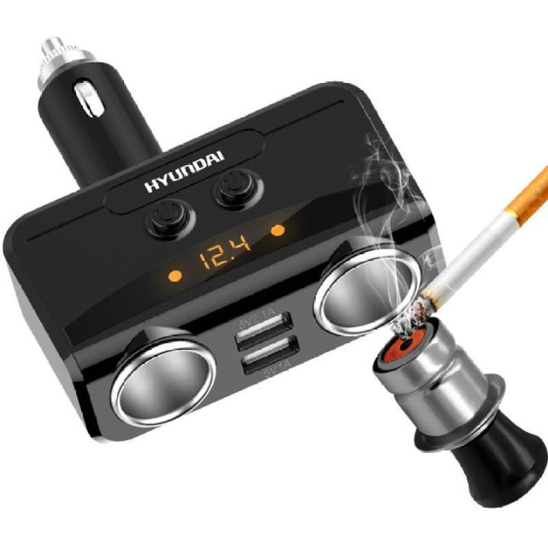 Bộ chia tẩu sạc ô tô, xe hơi HY-32 hiển thị điện áp ắc quy, tích hợp 2 cổng USB, điện áp 3.1A (Màu đen)