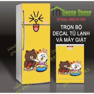 Decal dán trang trí tủ lạnh hình gấu - TL102. Không thấm nước ,không độc hại, hoàn toàn thân thiện với môi trường. thumbnail