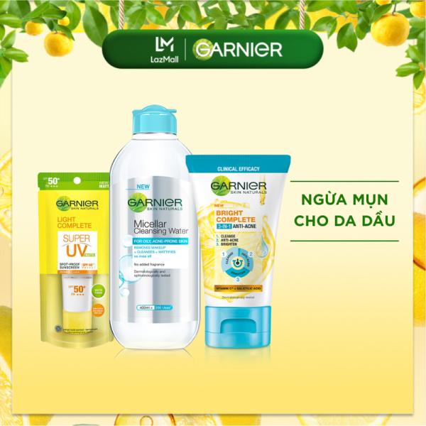 Bộ sản phẩm ngừa mụn dành cho da dầu Garnier Bright Complete giá rẻ