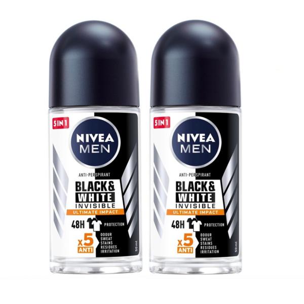 Combo 2 Lăn Ngăn Mùi NIVEA MEN Black & White Ngăn Vệt Ố Vàng Vượt Trội 5in1 (50ml/chai) giá rẻ