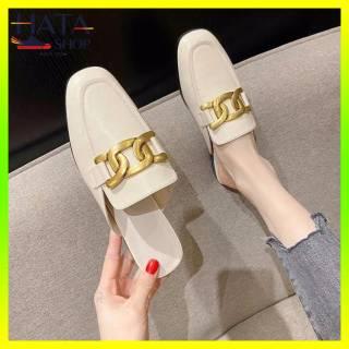 Giày sục nữ sang chảnh khuy đồng xoắn cực đẹp HOT 2021, sục nữ mũi vuông đẹp mang êm chân đi chơi, đi học, đi làm thumbnail