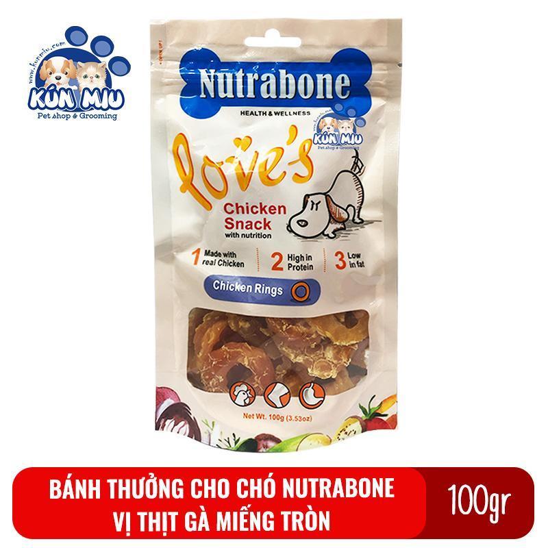 Bánh thưởng cho chó Nutrabone 100gr vị thịt gà - Chicken Rings