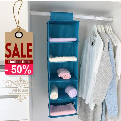 Giá bán Tủ vải treo 5 ngăn đa năng (Màu xám )