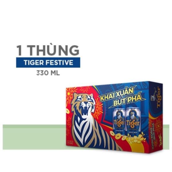 Một Thùng Bia Tiger Xuân Mẫu Mới 2021 Khai Xuân Bức Phá