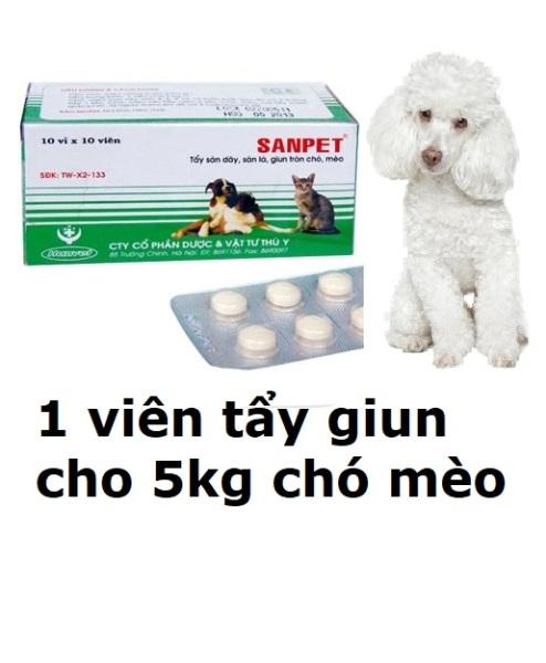 1 viên Tẩy GIUN chó mèo SANPET tây giun chó hanpet / tẩy sán chó / tẩy giun chó mèo / xổ giun chó mèo
