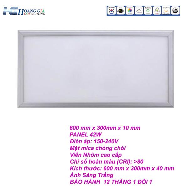 Đèn Led Panel 42W âm trần 300x600mm