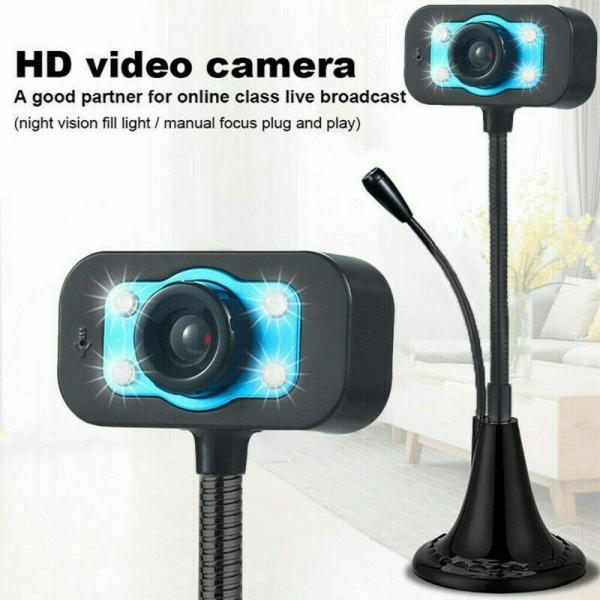 Bảng giá Webcam Để Bàn Khử Tiếng Ồn, Camera Web LED 360 Độ HD Máy Ảnh Máy Tính, USB 2.0 Phong Vũ