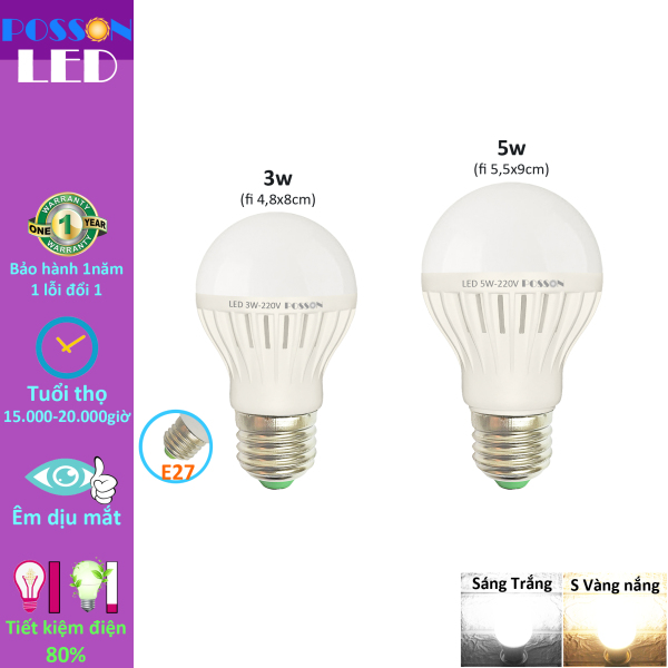 Bảng giá Bóng đèn Led 3w 5w bup tròn bulb tiết kiệm điện giá rẻ Posson LB-E3-5x