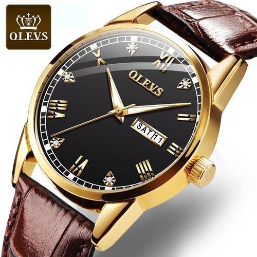 OLEVS Đồng hồ thạch anh có kim dây làm bằng da chống thấm nước thiết kế đơn giản thoải mái kiểu dáng thời trang dành cho nam giới, mẫu S-G6898 - INTL