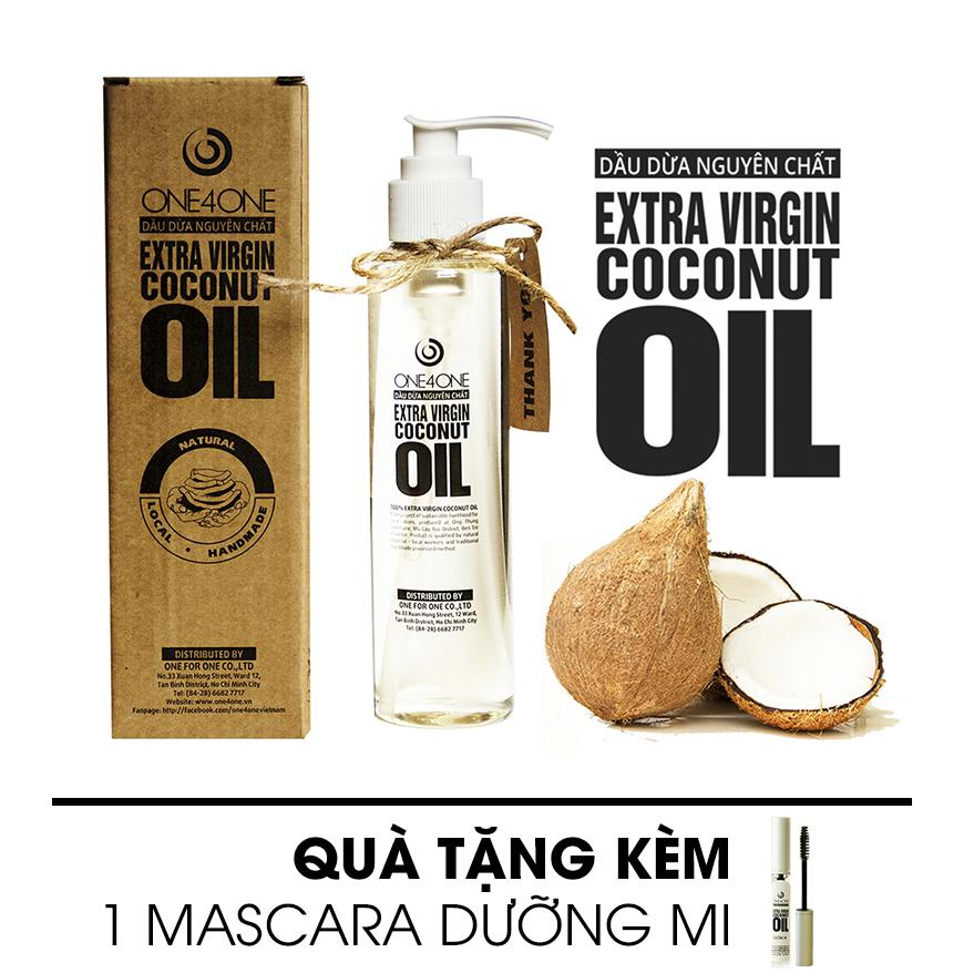 Dầu Dừa Nguyên Chất One4One 150ml (Tặng 1 Mascara Dưỡng Mi)