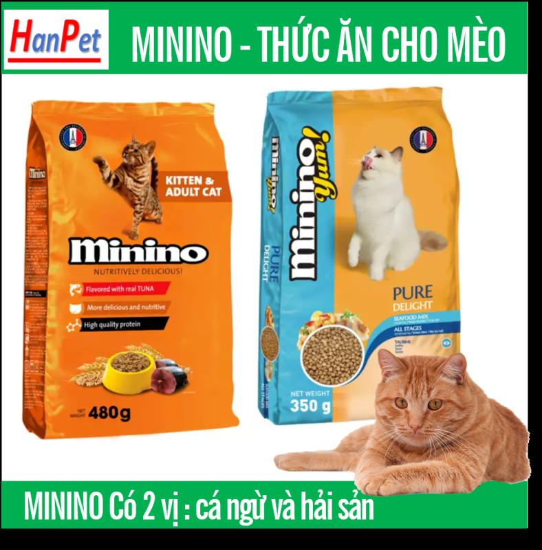 HN-(Gói 1,5kg &1,3kg ) MININO thức ăn viên cao cấp cho mèo, dùng cho mèo mọi lứa tuổi thức ăn mèo dạng hạt khô