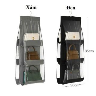 [ HÀNG TỐT DÀY ] Túi treo giỏ xách 6 ngăn đa năng chống bụi , túi treo đựng đồ nhiều ngăn , túi vải dù treo đồ nhiều ngăn 2 mặt tiết kiệm không gian tiện dụng thumbnail