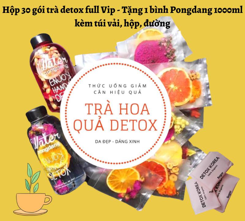 [HCM]Hộp 30 gói trà detox hoa quả sấy khô full Vip  - Tặng 1 bình Pongdang 1000ml nhựa chịu nhiệt cao cấp kèm túi vải hộp đường