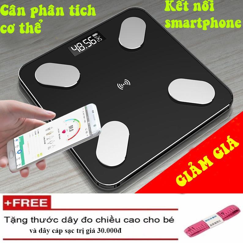 {Dùng Pin Sạc} Cân Điện Tử Đo Sức Khỏe Thông Minh (Đo 11 thông số qua smartphone) đo tỷ lệ Mỡ Thừa, Lượng nước trong cơ thể....