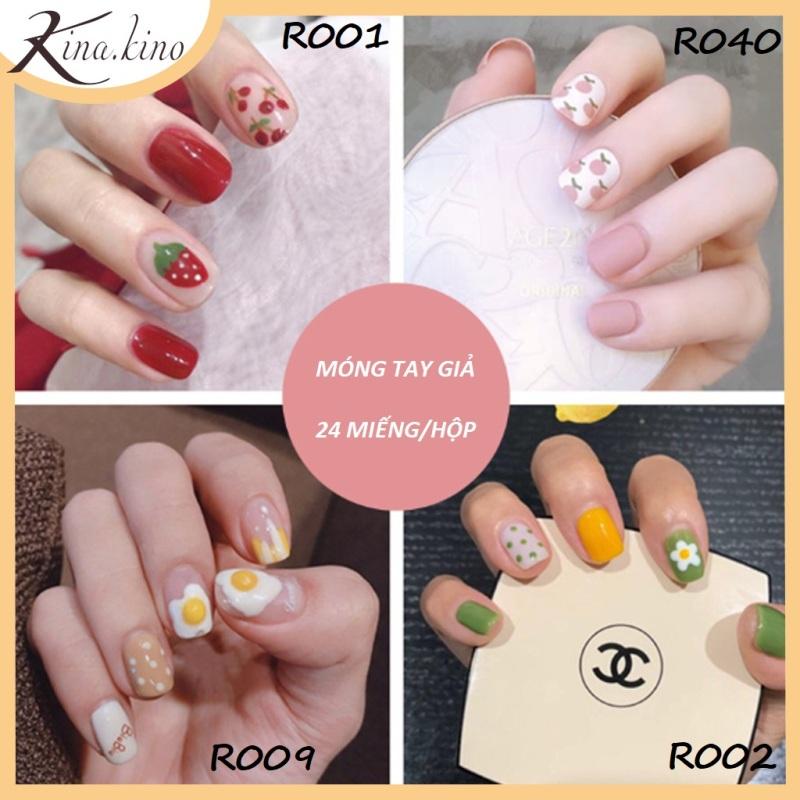 [TẶNG KEO ] Set 24 móng tay giả cao cấp- Có hơn 30 mẫu móng tay từ sang trong tới kute- KinaKino
