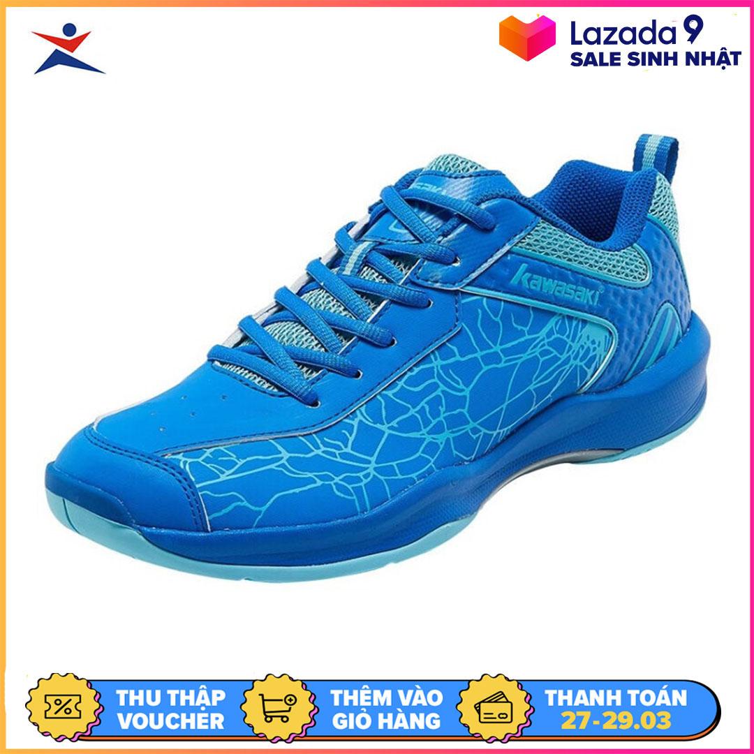 Giày cầu lông nam nữ Kawasaki K081 màu đỏ-xanh, giày đế kếp chống trơn trượt truyệt đối chơi được sân bê tông-giày chơi bóng chuyền nam nữ