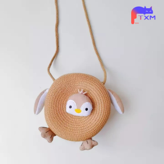 New Summer Girls Straw Bag Kids Shoulder Bag - Cartoon Penguin Coin Purse, Round Mini Bag Mesenger Bag Kids Birthday Gift thumbnail