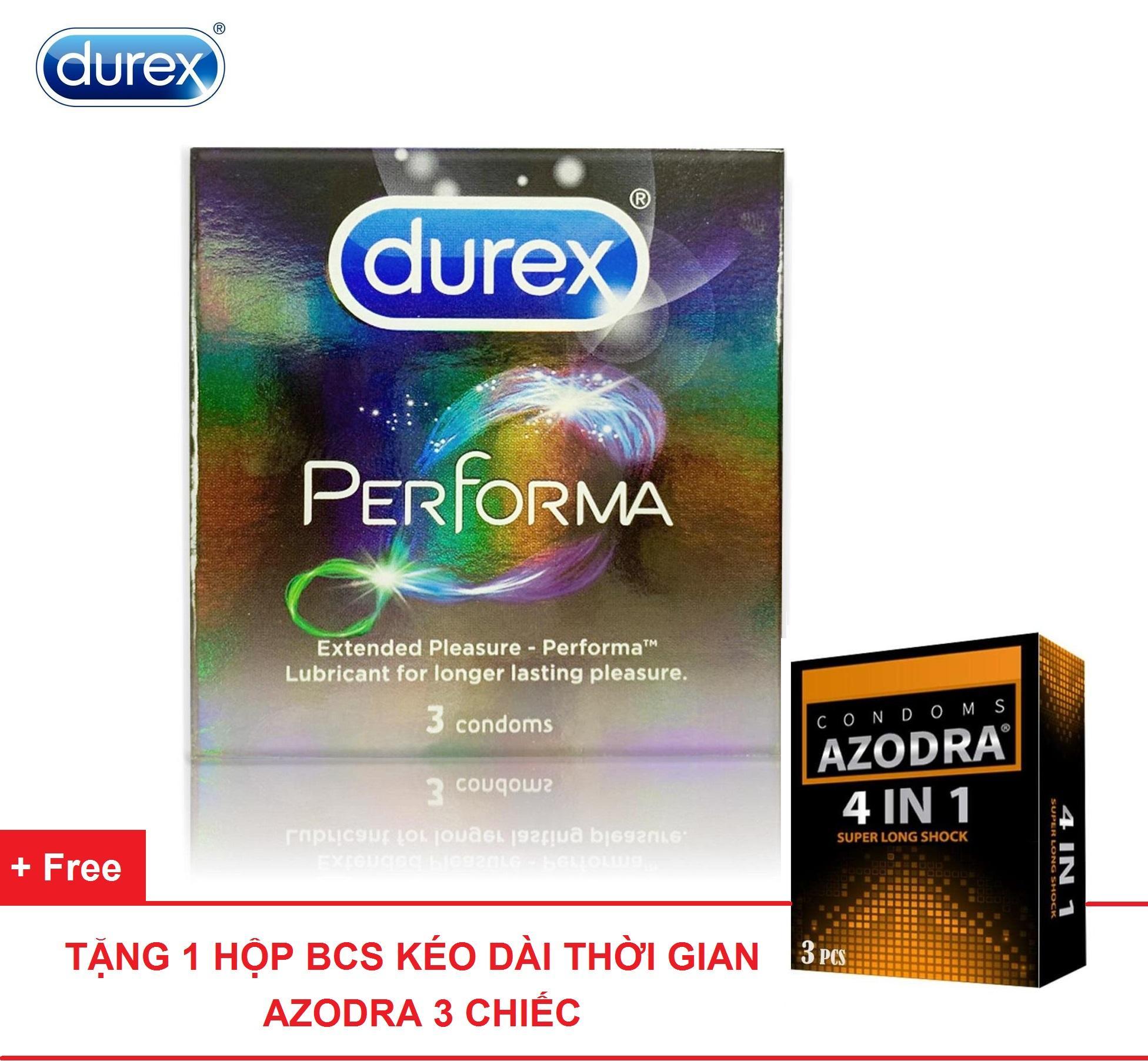 Combo 1 hộp Bao cao su kéo dài thời gian Durex Performa 3 chiếc tặng 1 hộp bcs AZODRA 3 chiếc