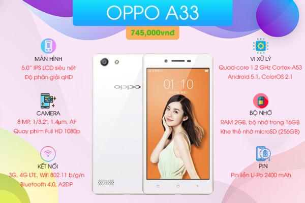 Điện thoại Oppo Neo 7 (A33) 2SIM - Chính Hãng - Camera 8MP - Pin 2420 mAh