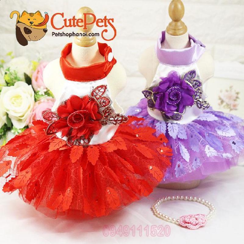 Váy đính hoa hồng dành cho chó mèo - Cutepets