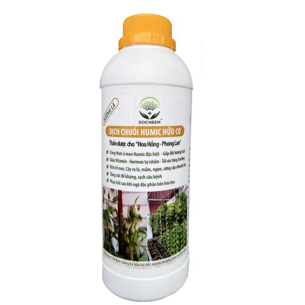 Dịch chuối Humic hữu cơ (1 lít) - Phân bón lá cho Hoa Lan, Hoa Hồng - Kích Rễ, kích Kei, ra mầm - Thương hiệu Docneem