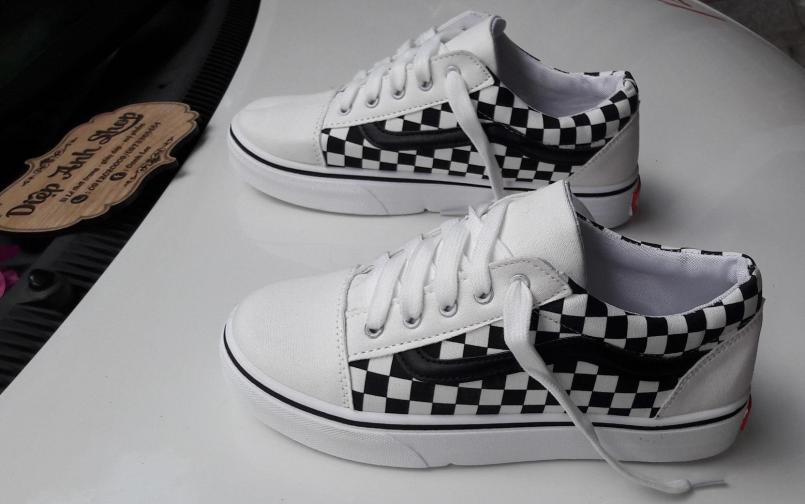 Giày sneaker vải kẻ caro thời trang nam nữ giá rẻ