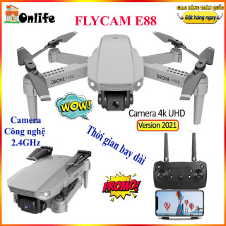 Flay cam 4 cánh có camera kép 4k HD siêu nét, May bay dieu khien tu xa có camera E88 Pro Mini Thế Hệ Mới, Camera 4K, lai cam, Góc Quay Rộng, Gấp Gọn Thông Minh thumbnail
