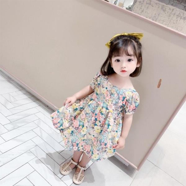 Giá bán Váy bé gái hoa lá tay bồng nơ thắt sau lưng cực xinh cho bé từ 1-5 tuổi - VBG-TBNL