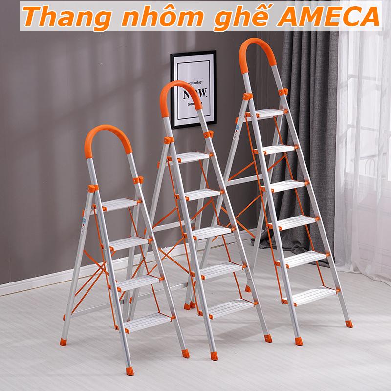 [ HÀNG CHÍNH HÃNG] Thang gấp gọn AMECA - thang nhôm ghế inox - 3 đến 6 bậc gọn nhẹ - Bảo hành 12 tháng - Thang nhôm gia đình - Inox 304 - Chống gỉCó tay vịn chắc chắn - Chịu lực lớn