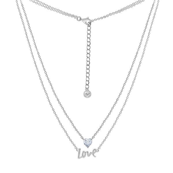 Dây chuyền Layer Love Heart Jadmire bạc Ý 925 cao cấp mạ Platinum đính đá Swarovski® trắng
