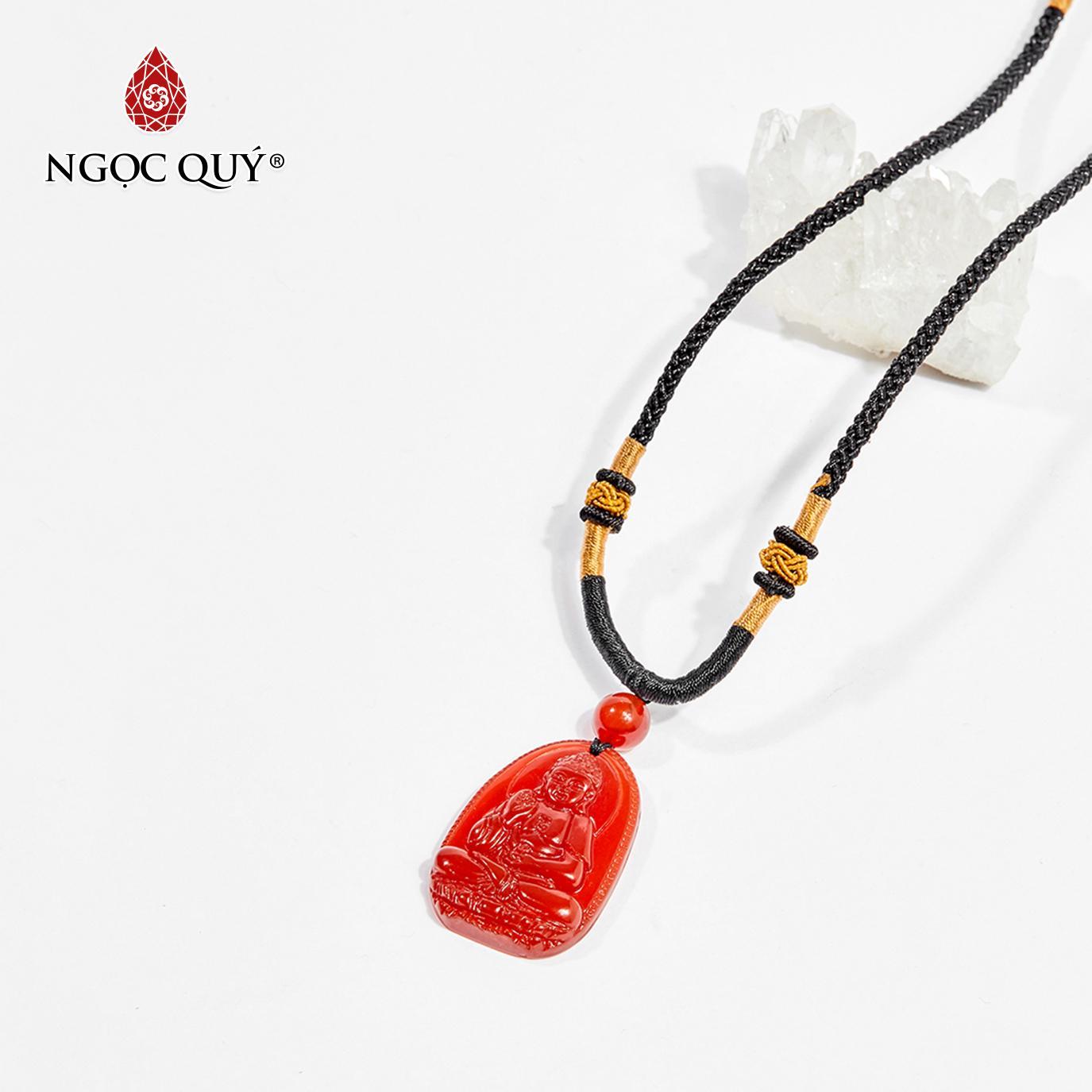 Mặt dây chuyền Phật bản mệnh đá mã não đỏ A Di Đà tuổi Tuất , Hợi 3.6 x 2.3cm (màu đỏ) - Ngọc Quý Gemstones