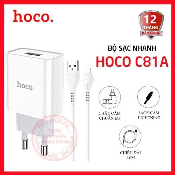 Bộ sạc nhanh Hoco C81A 1 cổng USB 2.1A kèm cáp Lightning dài 1m