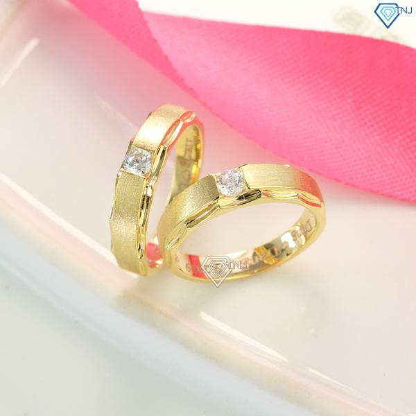 Nhẫn đôi tình yêu, nhẫn cặp bạc xi vàng khắc tên ND0414 - Nhẫn đôi bạc TNJ