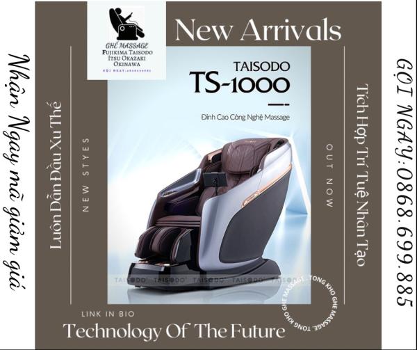 [ HOT 2021, CÔNG NGHỆ 5D] Ghế massage liên động tự động massage toàn thân thời thượng quý phái trị liệu Nhật Bản TAISODO TS-1000