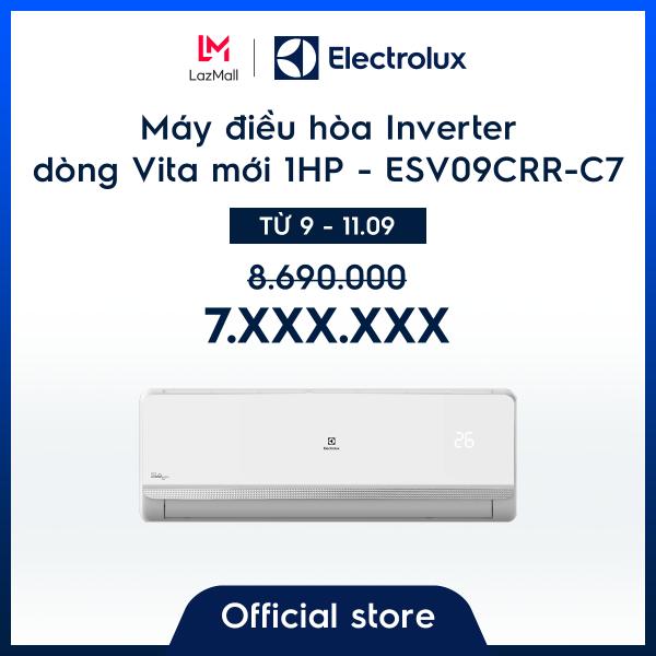 Bảng giá Máy điều hòa Electrolux Inverter 1HP 9000BTU ESV09CRR-C7 – Màu trắng - Thiết kế châu Âu - Lọc khí trong lành - Hạn chế vi khuẩn - Tiết kiệm điện – Thân thiện với môi trường - Hàng chính hãng Điện máy Pico