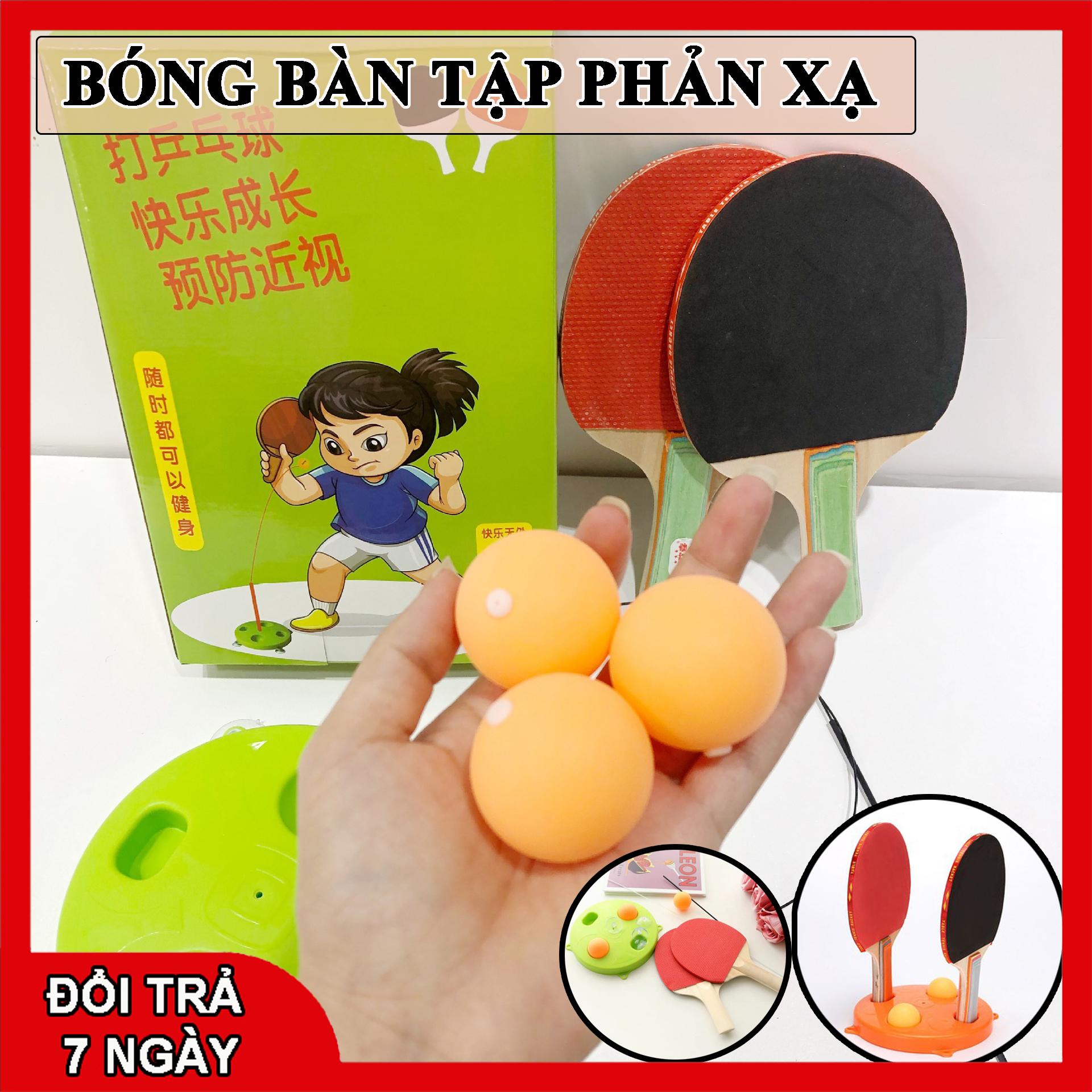 Bóng bàn luyện phản xạ - Bộ đồ chơi bóng phản xạ - Dụng cụ tập đánh bóng bàn cho mọi lứa tuổi (2 vợt gỗ +bóng+ dây+ đế) BR01