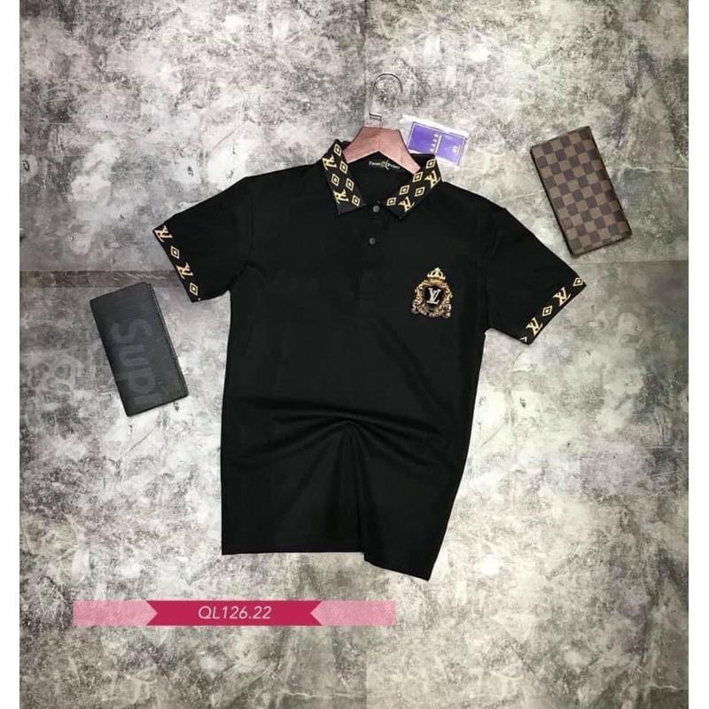 Áo thun nam cổ bẻ LOGO VL cao cấp, chất liệu cotton cá sấu, phong cách thể thao , 2 màu trắng đen, full size từ 35-90kg
