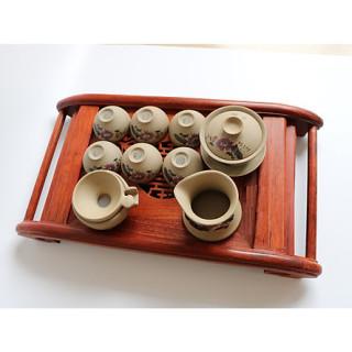 Khay trà cuốn gỗ hương ta đỏ kèm khay inox hứng nước sang trọng thumbnail