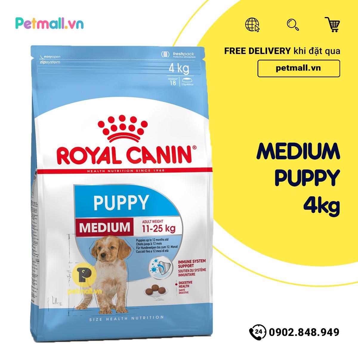 Coupon Ưu Đãi Thức ăn Chó Royal Canin MEDIUM PUPPY 4kg