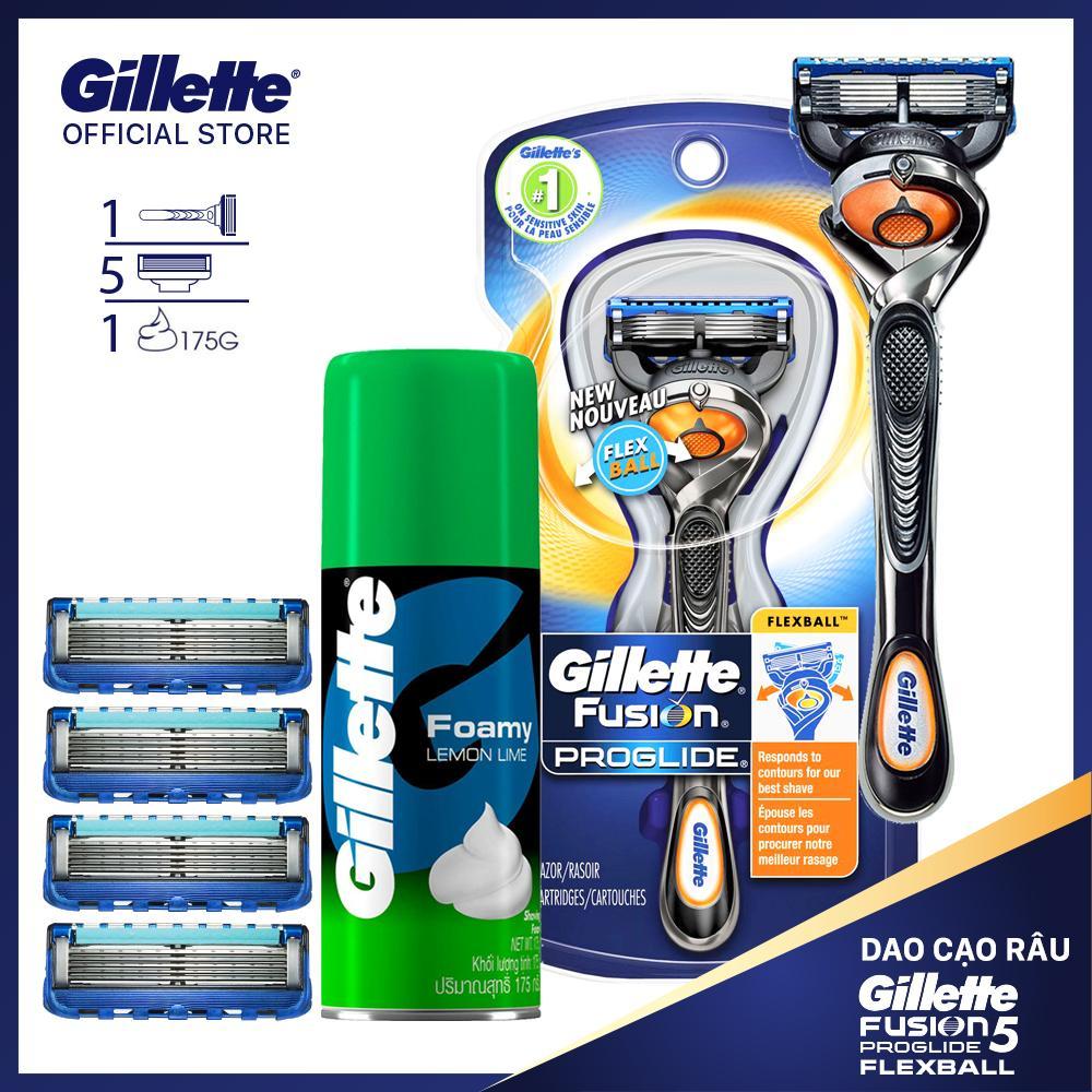 Combo dao cạo râu Gillette Fusion5 Progline Flexiball kèm 4 lưỡi và bọt cạo râu 175gr