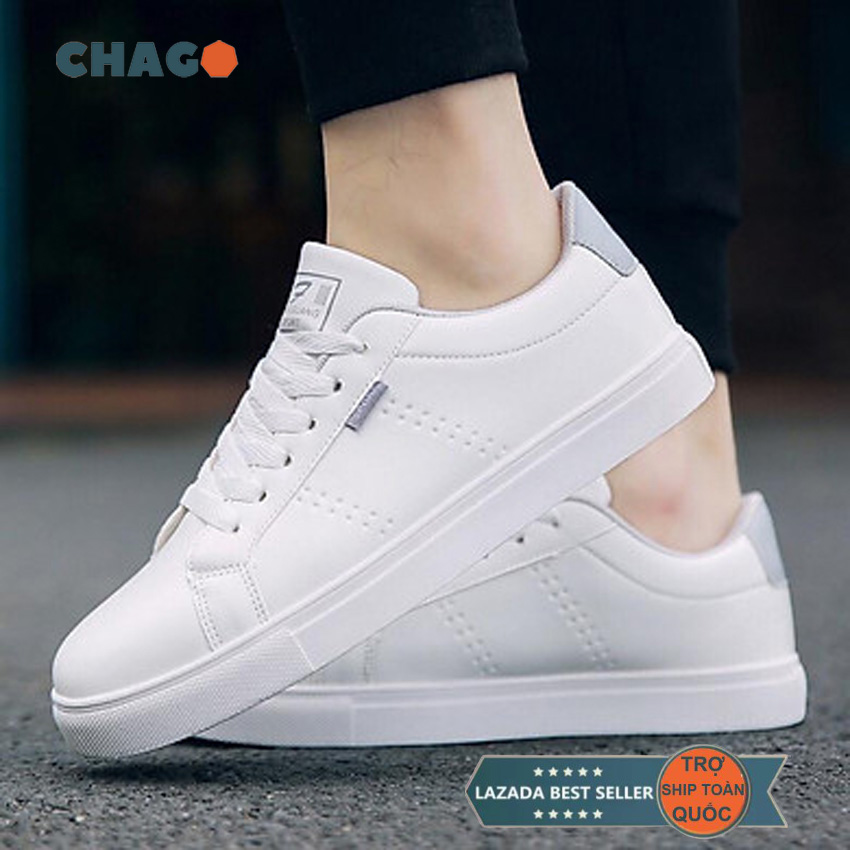 Giày sneaker nam thời trang CHAGO, giày thể thao nam trắng phối gót ghi, giày sneaker nam cổ thấp giống giày nam, giày mọi, giày lười, giày nam theo phong cách Hàn Quốc - GTT098-LDV02