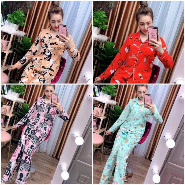 Đồ Bộ Pijama Tay Dài Vải LỤA HÀN Dày Siêu Mát Mịn, CAM KẾT ĐÚNG MẪU, size dưới 60kg LHTDC