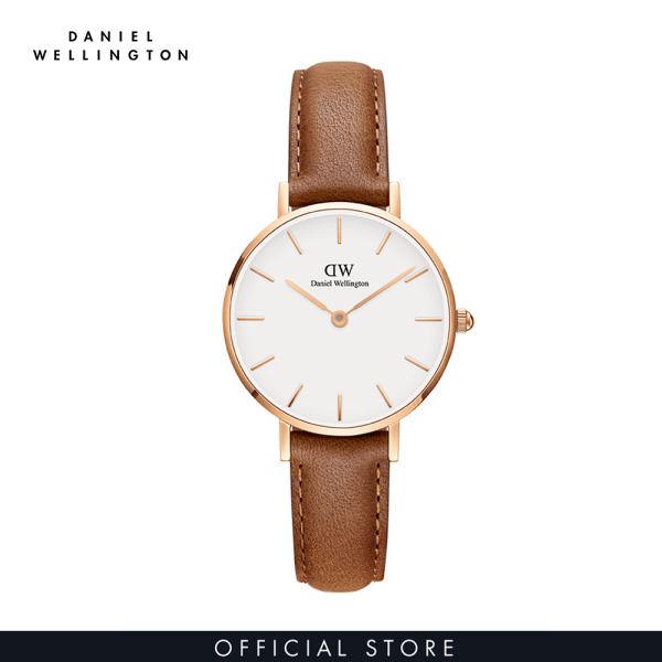 Đồng hồ Nữ Daniel Wellington dây da - Petite Durham mặt trắng - vỏ vàng hồng