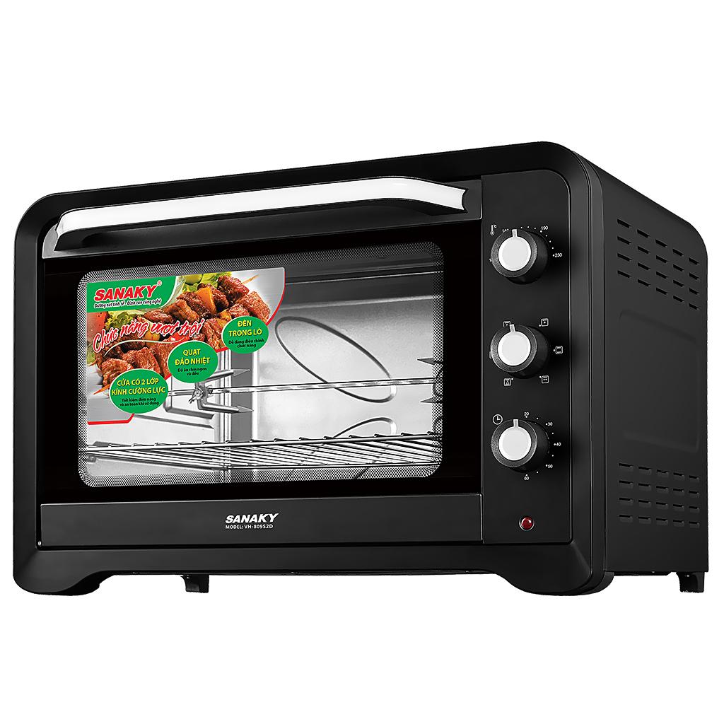 Lò nướng Sanaky VH809S2D - Lò nướng 80 lit - Lò nướng gia đình - Công suất 2000W - Có quạt đối lưu, chế độ quay tự động - Vỏ Đen sơn tĩnh điện - Bếp Hoa