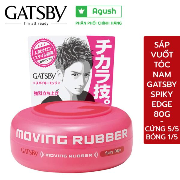 Sáp vuốt tóc nam Gatsby Moving Rubber Spiky Edge màu hồng 80G ít bóng siêu cứng giữ nếp lâu không rít tay thơm hương trái cây - Agush shop